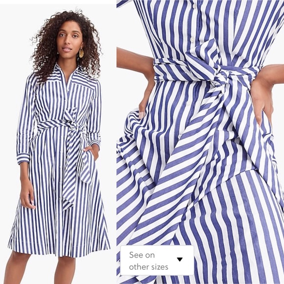 J. Crew Dresses & Skirts - J. Crew Blue Stripe Tie Waist Shirt Dress